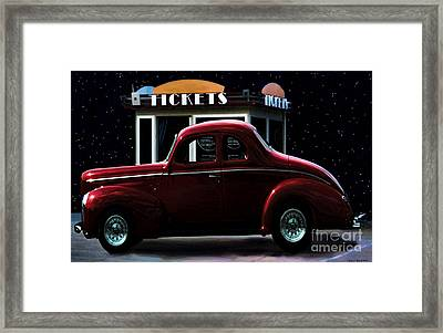 Drive In Movie Framed Print by Jerry L Barrett