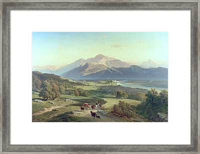 Drover On Horseback With His Cattle In A Mountainous Landscape With Schloss Anif Salzburg And Beyond Framed Print by Josef Mayburger