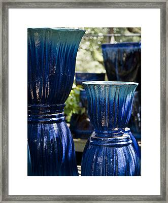 Dual Blue Fluted Pots Framed Print by Teresa Mucha