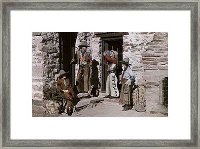 Dude Ranch Guests Pretend To Be Cowboys Framed Print by Clifton R. Adams