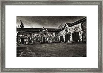 Durdurn Castle Coach House Bw Framed Print by Larry Simanzik