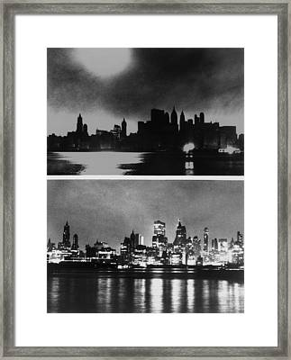During And After Photos Of New York Framed Print by Everett