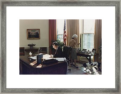 During His First Week As President Framed Print by Everett