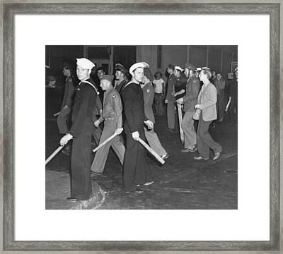 During Zoot Suit Riot, Los Angeles Framed Print by Everett