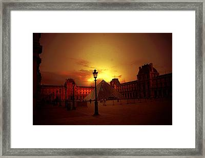Dusk At The Louvre Framed Print by Carrie OBrien Sibley