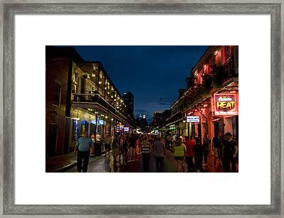Dusk On Bourbon Street Framed Print by Bourbon  Street