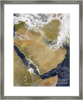Dust And Smoke Over Iraq And The Middle Framed Print by Stocktrek Images