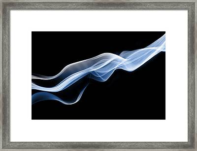 Dynamic Threads Of Blue Smoke Framed Print by Anthony Bradshaw