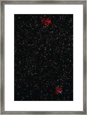 Eagle And Omega Nebulae Framed Print by John Sanford