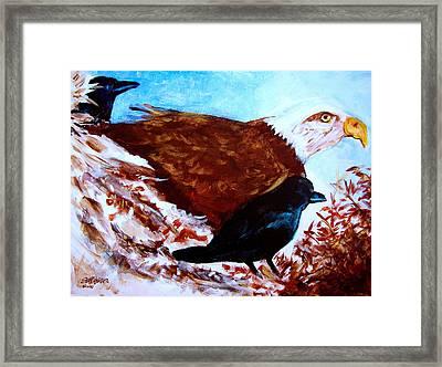 Eagle And Ravens Framed Print by Seth Weaver
