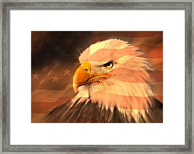 Eagle On Flag Framed Print by Marty Koch