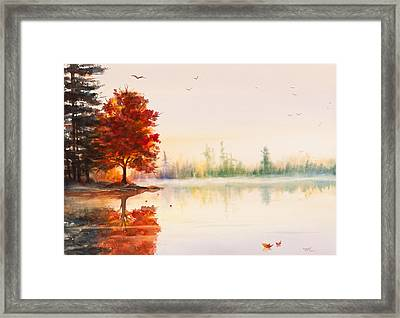 Early Autumn Reflections Watercolor Painting Framed Print by Michelle Wiarda