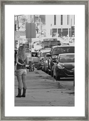 Early Friday Night In Kansas City Bw Framed Print by Elizabeth Sullivan