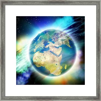 Earth And Nebulae Framed Print by Pasieka
