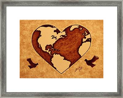 Earth Day Gaia Celebration Coffee Painting Framed Print by Georgeta  Blanaru