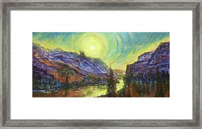 Earth Light Series Wolf Butte Sun Framed Print by Len Sodenkamp