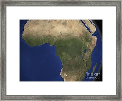 Earth Showing Landcover Over Africa Framed Print by Stocktrek Images