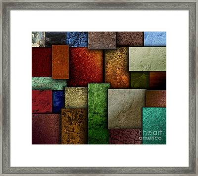 Earth Tone Texture Square Patterns Framed Print by Angela Waye