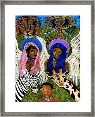 Earthangels Abeni And Adesina From Africa Framed Print by The Art With A Heart By Charlotte Phillips