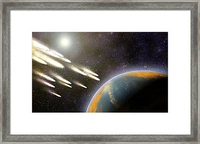 Earth's Cometary Bombardment, Artwork Framed Print by Equinox Graphics