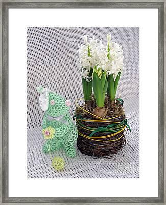 Easter Bunny Greeting Framed Print by Ausra Huntington nee Paulauskaite