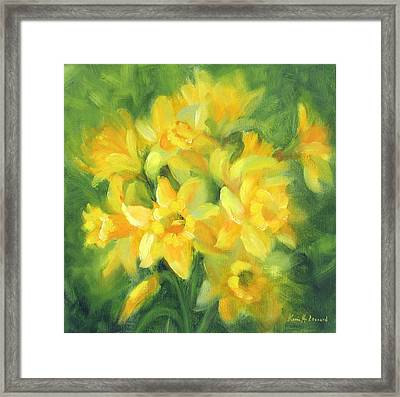 Easter Daffodils Framed Print by Karin  Leonard
