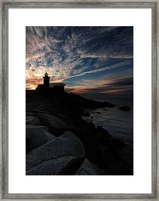 Eastern Point Lighthouse At Sunrise Framed Print by Dave Storym