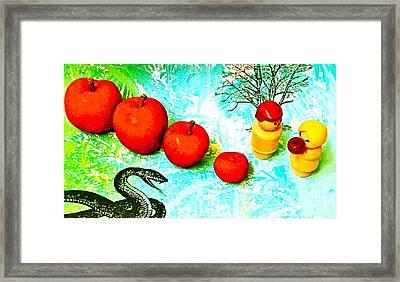 Eating Apples Framed Print by Ricky Sencion