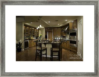 Eating Bar In Contemporary Upscale Kitchen Framed Print by Robert Pisano