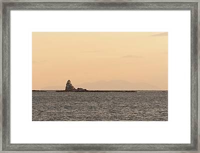 Eboshi-rock Of Evening Glow Framed Print by Yuji Takahashi