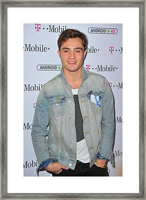Ed Westwick At Arrivals For T-mobile Framed Print by Everett
