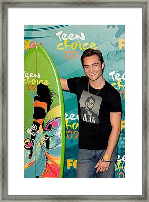 Ed Westwick In The Press Room For Teen Framed Print by Everett