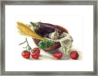 Eggplant And Spaghetti Framed Print by Darya Tsaptsyna