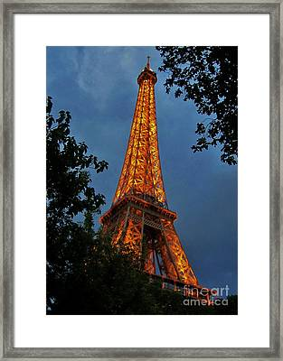 Eiffel Tower At Night Framed Print by John Malone