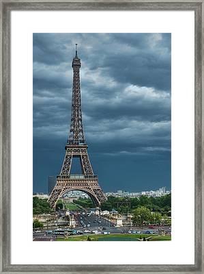 Eiffel Tower On A Stromy Weather Framed Print by Mihaela Muntean