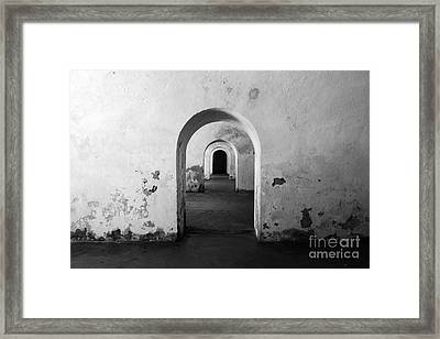 El Morro Fort Barracks Arched Doorways San Juan Puerto Rico Prints Black And White Framed Print by Shawn O'Brien