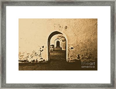 El Morro Fort Barracks Arched Doorways San Juan Puerto Rico Prints Rustic Framed Print by Shawn O'Brien