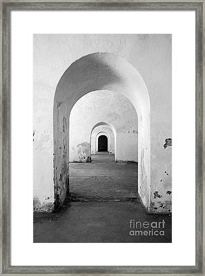 El Morro Fort Barracks Arched Doorways Vertical San Juan Puerto Rico Prints Black And White Framed Print by Shawn O'Brien