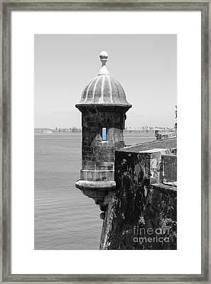 El Morro Sentry Tower Color Splash Black And White San Juan Puerto Rico Framed Print by Shawn O'Brien
