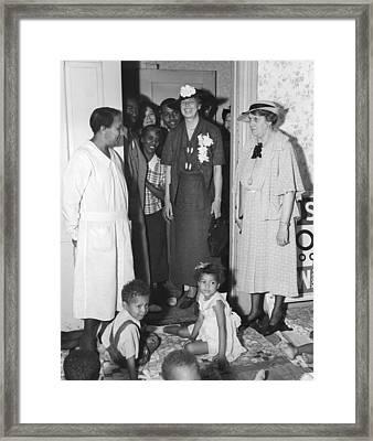 Eleanor Roosevelt Visiting A Wpa Works Framed Print by Everett