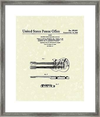 Electric Guitar 1958 Patent Art Framed Print by Prior Art Design