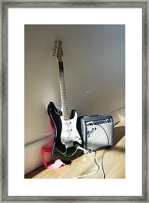Electric Guitar And Amplifier Framed Print by Johnny Greig