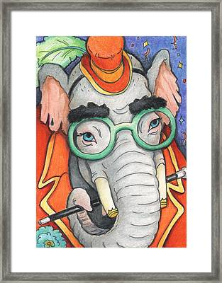 Elephant In Glasses Framed Print by Amy S Turner