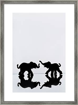 Elephant Pair Reflection Framed Print by Chris Knorr