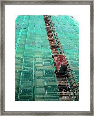 Elevator At Building Construction Site Framed Print by Yali Shi
