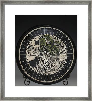 Elk And Hand Framed Print by Ken McCollum
