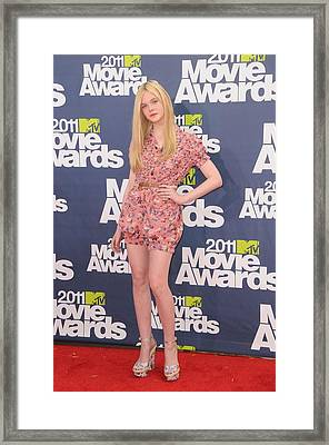 Elle Fanning Wearing A D&g Outfit Framed Print by Everett
