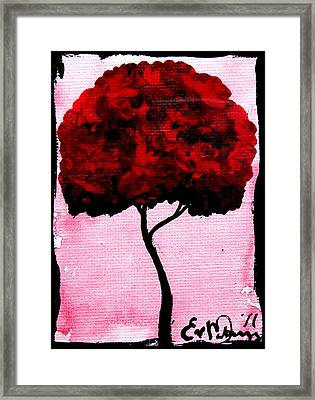 Emily's Trees Red Framed Print by Lizzy Love of Oddball Art Co