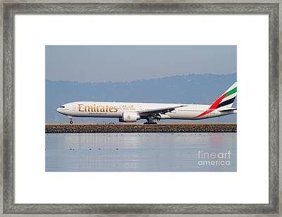 Emirates Airline Jet Airplane At San Francisco International Airport Sfo . 7d12104 Framed Print by Wingsdomain Art and Photography
