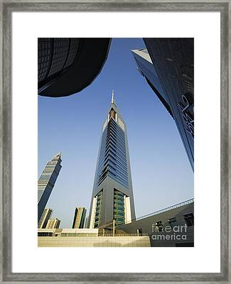 Emirates Tower At Sunrise Framed Print by Jeremy Woodhouse